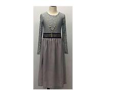New Girls Maxi Dress Kids Lace Work Muslim Holiday Abaya Islamic Top 7 - 13 Y
