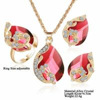 Woman Gold Plated Crystal Pendant Chain Necklace Earrings Jewelry Sets Luxury