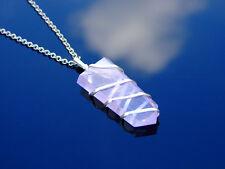 Rose Quartz Wrapped Flat Natural Gemstone Pendant Necklace 50cm Healing Stone