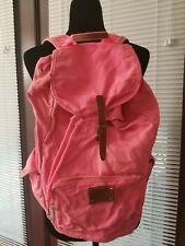"""Hot Pink Bright with Brown Leather Details Lady's Cotton Backpack by """"Pink""""."""