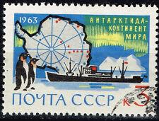 Russia Soviet Antarctic Exploration Map Pinguins stamp 1963