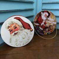 Vintage lot Christmas Tins Potpourri Press Santa, Tin Bucket with Lid