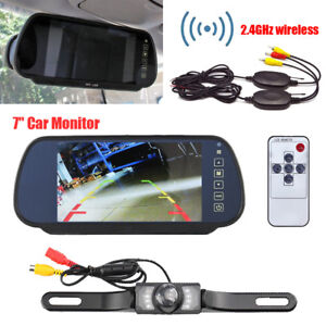 "WIRELESS CAR BUS TRUCK REAR VIEW KIT 7"" LCD MIRROR MONITOR + IR REVERSING CAMERA"