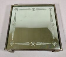 Antique Art Deco REVERSE ETCHED MIRROR Footed Silver VANITY TRAY