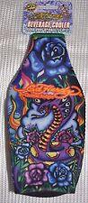 Ed Hardy Tattoo Neoprene Bottle Cooler Purple Cobra /Koozie with Zipper
