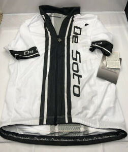 DeSOTO Cycling Jersey w Pockets Mens White Size S Full Zip NWT