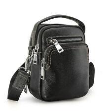 Black Men's Leather Fanny Pack Shoulder Sling Bag Sports Running Waist Belt Bag