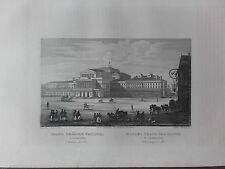 GRAVURE 1840 POLOGNE POLAND POLSKA  GRAND THEATRE NATIONAL VARSOVIE WARSZAWIE