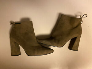 Stuart Weitzman Grandiose Ankle Bootie Cactus Suede Size 11M Worn With Care