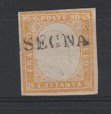 FRANCOBOLLI 1860 SARDEGNA 80 C. GIALLO ARANCIO CHIARO Z/140