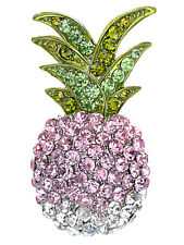 Tropical Pineapple Fruit Brooch Pin Silver Tone Ombre Colored Rhinestones