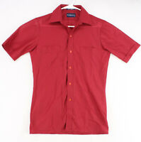ARROW SPORTSWEAR Vtg 60s 70s Red SUMMER LIGHT Knit S/S Disco Shirt Men's Small