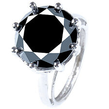 .925 Silver Ring Size 9 14.56+ct Black Color Real Moissanite Round