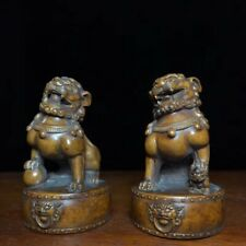Collectable Handwork Boxwood Carve Japanese Netsuke Exorcism Lion Lucky Statue