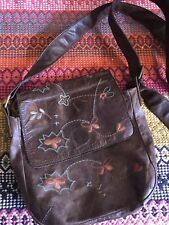 White Stuff Vintage Brown Leather Handbag Lined With Pockets