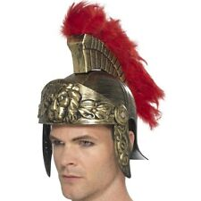 Roman Spartan Helmet Gold & Red Plastic With Detachable Feather Plume