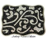 Black Crystal Belt Buckle with Swarovski Crystals & Genuine Leather Belt