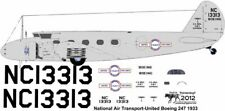 National Air Transport- UAL  Boeing 247 decals for Williams Brothers 1/72 scale