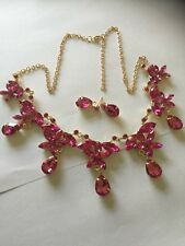 gold necklace and earring set with rose red stones handmade stunning new  2017