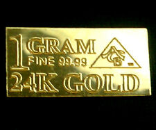 ACB 24k Gold 1 GRAM FINE 99.99 Pure Bullion Bar. PUREST GOLD MONEY CAN BUY. <