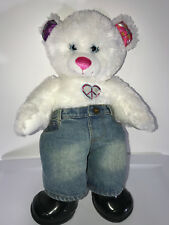 """Build A Bear 15"""" White Peace Sign Heart Design Jean Pants And Black Boots"""