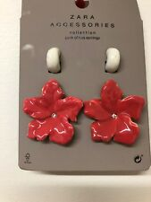 50dc9938a New ZARA Pink Mauve Cream Floral Flowers Earrings Dangled Pack Of 2 Fashion  944