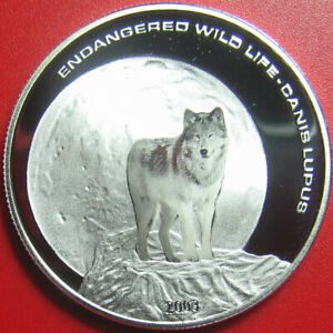 2003 MONGOLIA 500 TUGRIK SILVER PROOF COLORED WOLF FULL MOON ENDANGERED WILDLIFE