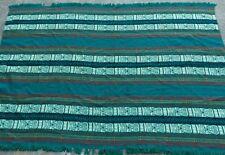 Vintage Peruvian Area Rug 5'x7' Handwoven Blanket Textile Tejidos Peru Green