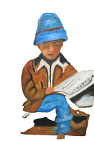 "Oil On Canvas Wood Framed Painting Boy Reading Paper 21"" x 25"" Signed By Artist"