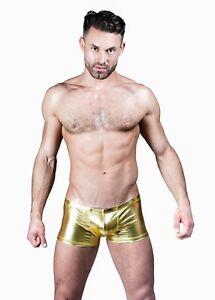 Mens Rocky Horror Gold Lame Shorts Wrestling Trunks Gold Hot Pants UK FAST POST