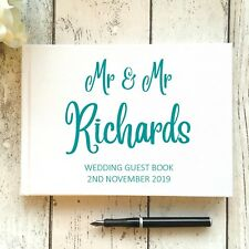 PERSONALISED WEDDING GUEST BOOK A5/A4 TYPOGRAPHY/ CALLIGRAPHY ~ ANY COLOUR