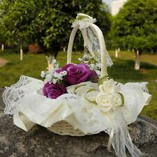 White Bowknot Lace Ribbon Flower Girl Basket for Wedding Ceremony Party Decor