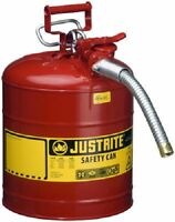 JUSTRITE 7250130 5 GALLON TYPE II 2 RED STEEL GAS GASOLINE FUEL CAN