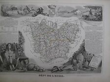 Handcolored Map ca. 1860 French Normandy L'eure National  Atlas France Levasseur