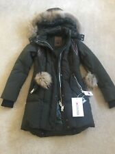 Nicole Benisti Ginger Army Green XS Pom Down Jacket Coat Mint Quilted Puffer