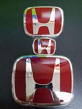 3pcs JDM Front+Rear+steering wheel Red H Emblem Fit For 06-15 Honda civic Sedan