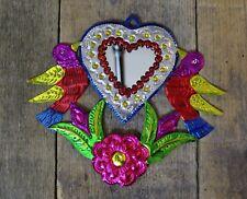 Valentine Zinn Herz Spiegel MILAGRO gestempelt Zinn handgemachte Mexikanische Volkskunst Oaxaca