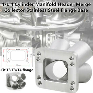 """4"""" In 1"""" Out 4 Cylinder Manifold Header Merge Collector Flange Base T3/T4 Turbo"""