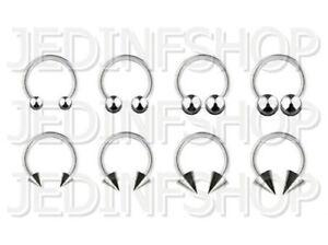 Circular Bar Horseshoe Ring | 2.4mm (10g) - 10mm | Stainless Steel - Ball Spike