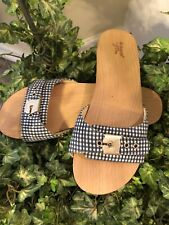 Dr Scholl's for J. Crew Fabric Blue & White Gingham Slip On Wood Clogs Size 8 M