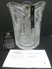 "WATERFORD CRYSTAL ""THE FOUR SEASONS"" ENGRAVED VASE BOXED + COA MADE IN IRELAND"