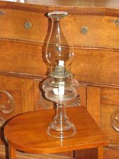 "Antique Glass P & A Waterbury Eagle Oil Kerosene Lamp Bead Top Chimney 17 1/2"""