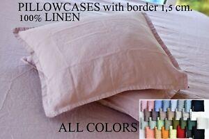 Linen pillow case Softened linen bedding Pre washed linen pillowcase Queen King