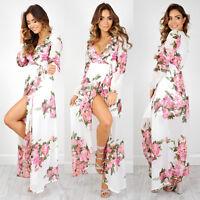 Mode Femmes Été Vintage Bohémien Maxi Longueur Plage Fête Robe Florale De Soleil