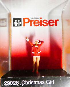 Preiser HO #29026 Santa's Helper 1 (Plastic) Woman in short red Skirt