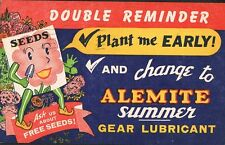 Alemite Summer Gear Lubricant ~ Free Seed Offer ~ Seed Packet Person Fantasy