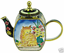 Kelvin Chen Enamel Copper Handpainted Mini Teapot- Cat & Flower Kitty