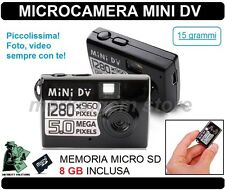 VIDEOCAMERA DIGITALE MINI DV  MICROCAMERA SPIA VIDEO SPY FOTOCAMERA MD80 - 8 GB