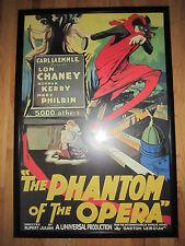"THE PHANTOM OF THE OPERA MOVIE POSTER PRINT LON CHANEY  25 1/2"" X 37 1/2"" FRAMED"