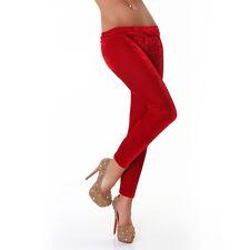 Sexy terciopelo Leggings Stretch pantalones elásticos Flecos Rojo 34 -38